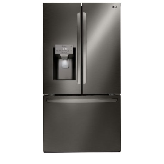 LG 28 cu. ft. Smart wi-fi Enabled French Door Refrigerator in Black Stainless Steel | Four Brothers Appliances